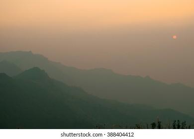 Sunset mountain landscape