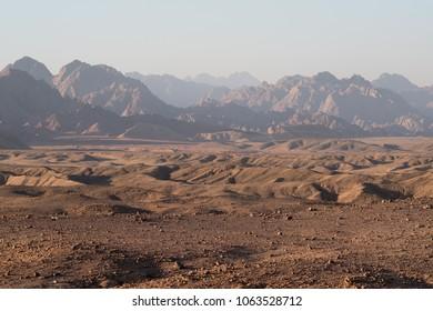 Sunset mountain landscape, Egypt, South Sinai