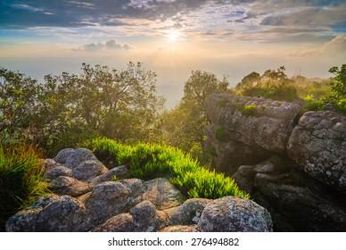 Sunset at mountain peak, Phu Hin Rong Kla National Park, north of  Thailand