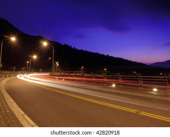 Sunset and mountain road