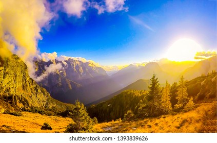 Sunset mountain valley landscape view. Mountain sunset fog. Sunset mountain fog view. Mountain sunset fog landscape