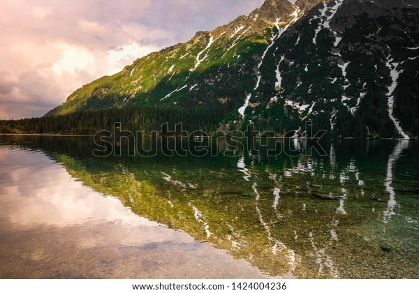 Sunset Mountain View Beautiful Lake Scenic Stock Photo Edit Now