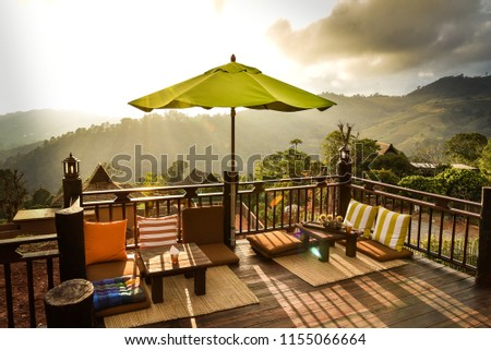 Sunset Mountain View On Balcony Stock Photo Edit Now 1155066664