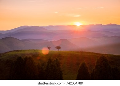 Sunset in the mountains.