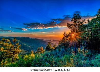 Sunset in the mountains of Cloudcroft New Mexico