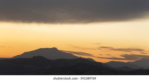 Sunset in the mountains of Elche province of Alicante in Spain. Panoramic horizontal shot
