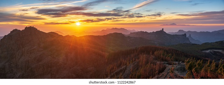 Sunset in the mountains of Gran Canaria