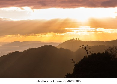 Sunset in mountains, Japan
