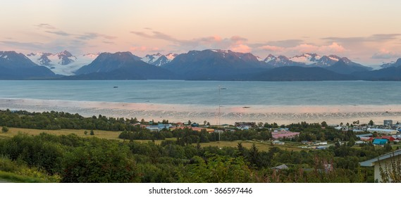 Sunset at the mountains of Kachemak Bay Alaska