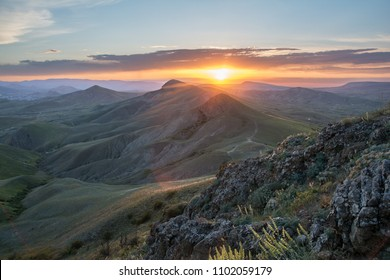 Sunset in the mountains landscape.
