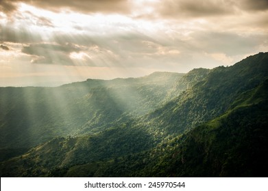 Sunset in the mountains landscape, Phu tub berg, Phetchabun province , North of Thailand.