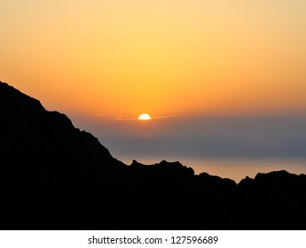 Sunset in the mountains at Majorca, Spain.