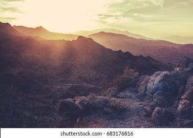 Sunset  Mountains Near Palm Springs California