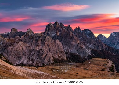 Sunset in the Mountains near Tre Ceme, Dolomites, Italy