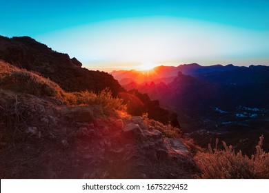 Sunset in mountains on Grand Canaria, travel concept