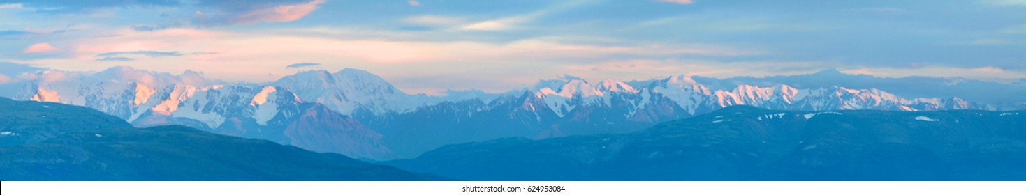 Sunset in the mountains, panorama landscape, natural background, Altai