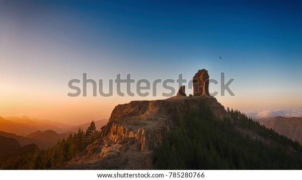 Sunset Mountains Peak Gran Canaria Beautiful Stock Photo