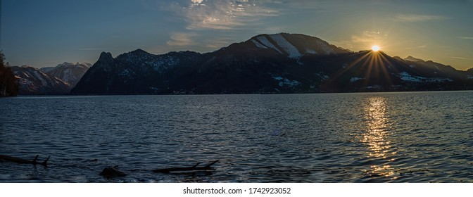 Sunset in the mountains of the Salzkammergut