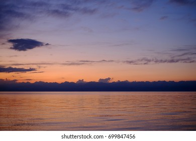 Sunset mountains and the sea