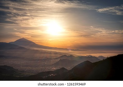 sunset in mountains of Tenerife
