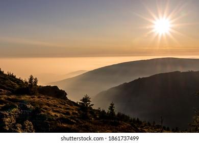Sunset, Mountains View, Vresova Studanka, Jeseniky, , Hruby Jesenik, Czech Republic - Shutterstock ID 1861737499