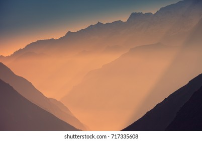 Sunset in the mountains,Himalayas,Nepal