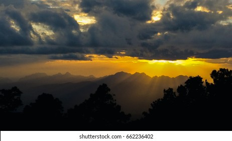 sunset in the mountens