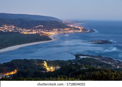 sunset at the mouth of the river Miño, makes the border between Spain and Portugal.