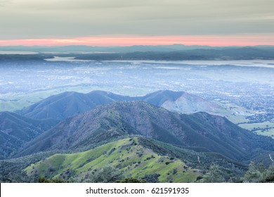 Sunset from Mt Diablo Summit Looking West. Mount Diablo State Park, Contra Costa County, California, USA.