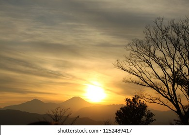 Sunset and Mt. Fuji, the view from Mt. Takao