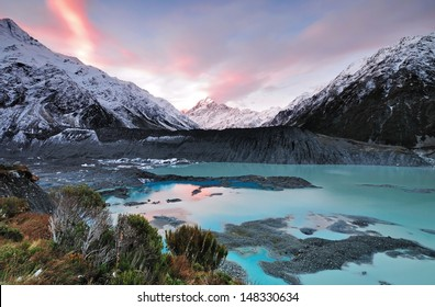 Sunset at Mueller Glacier Aoraki Mt Cook National Par, South Island, New Zealand