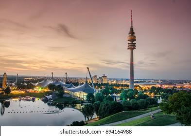 Sunset in Munich Olympiapark - Munhen Sonnenuntergang Panorama