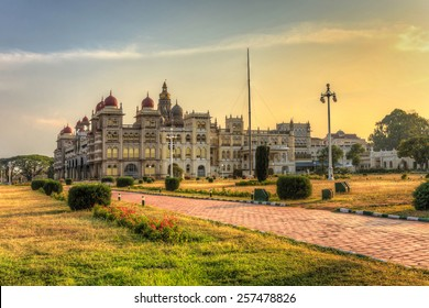 sunset at Mysore Palace and flower garden, Mysore, India