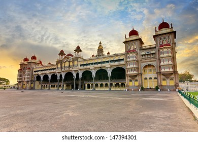 sunset at Mysore Palace, India