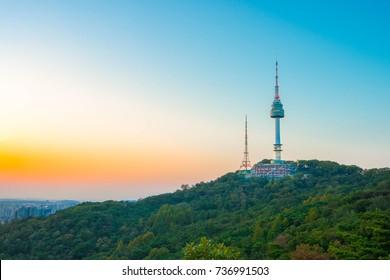 Sunset at Namsan Tower in Seoul,South Korea.