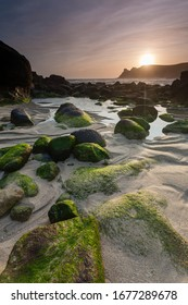 Sunset at Nanjizal, also known as Mill Bay, a beach and cove near Lands End, Cornwall Cornwall England UK Europe
