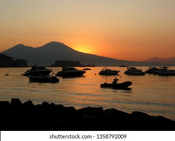 Sunset in Naples, Italy,  with the background Vesuvio volcano