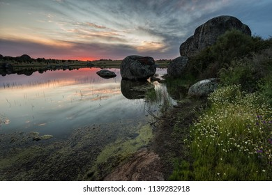 Sunset in the Natural Area of Los Barruecos. Malpartida de Caceres. Spain