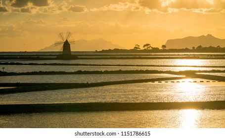 "Sunset in the Natural reserve of the ""Saline dello Stagnone"", near Marsala and Trapani, Sicily."