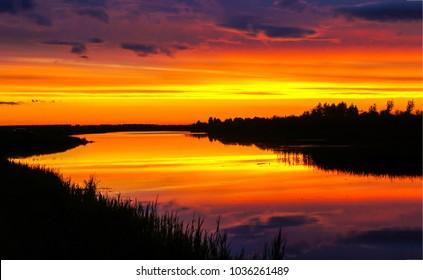 Sunset nature river landscape