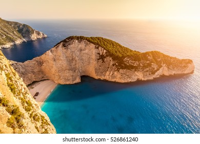 Sunset at Navagio beach with shipwreck view, Zakynthos island, Greece