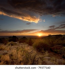 Sunset near Albuquerque, from the base of the Sandia Mountains