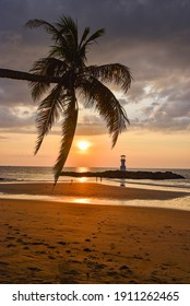 Sunset near by lighthouse, coconut tree and clear sky in  southern of Thailand, phangnga province.