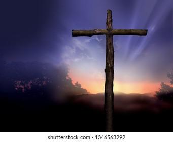 Sunset Near the Cross of Jesus
