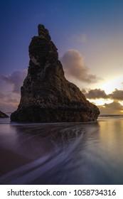 Sunset near face rock in Bandon Oregon on the Pacific Ocean coast.