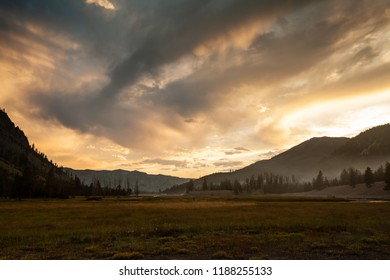 Sunset near Madison Campground at Yellowstone National Park in Wymoing