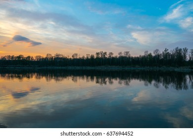 Sunset near Neuburg Castle (Newcastle), Danube River, Neuburg an der Donau, Germany, Europe