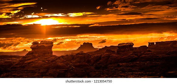Sunset in the Needles district of Canyonlands in Utah, USA