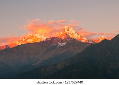 SUNSET IN NEPALESE MOUNTAINS