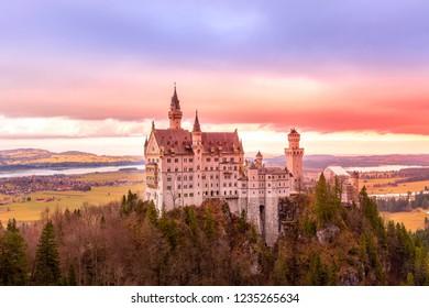 Sunset Neuschwanstein Castle in Germany located in Fussen, Bavaria